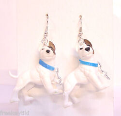 NEW White English Bull Terrier Dogs Hood Hounds 1.5quot; Figures Dangle Earrings