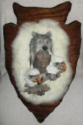 Wood Carved Indian Chief With Wolf Headdress And Eagles, Fur Background