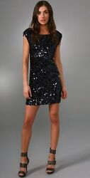 NWOT authentic ALICE & OLIVIA size SMALL deep green CLUSTER SEQUINNED DRESS $495