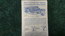 Lionel 3366 Horse Car And Circus Car Sets Instructions Photocopy