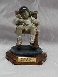 Brand New Hand Painted On Porcelain Lladro A Girl On Rocking Chair + Box