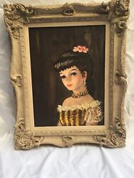 Magnificent Oil On Canvas 1950and039s Painting Of A Pretty Girl Signed M. Watman