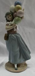 Magnificent Brand New Hand Painted On Porcelain Lladro A Girl W/ Ballons + Box