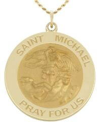 New 9/16in 14k Yellow Gold Round St Saint Michael Hollow Medal Pendant Necklace