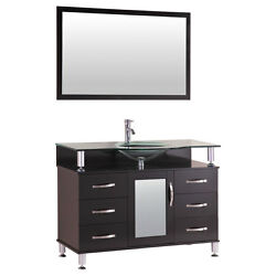 42 Bathroom Vanity Cabinet With Sink Glass Top And Mirror Espresso By Lesscare