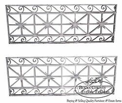Antique Pair Of Hand Wrought Iron Regency Style Wall Grates B