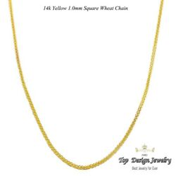 1mm 14k Solid Yellow Gold Italian Sq Wheat Chain Necklace Lobster Clasp 18-24