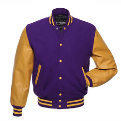 Stewart And Strauss Purple Wool And Gold Leather Varsity Letterman School Jacket