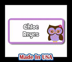 42 Personalized Waterproof Owl Name Labels Stickers Kids Baby Bottle Care School $9.99