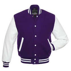 Stewart And Strauss Purple Wool And White Leather Varsity Letterman Jacket New