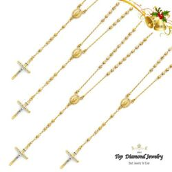 14k Solid Yellow Gold 4mm Our Lady Of Guadalupe Ball Rosary Necklace Rosario
