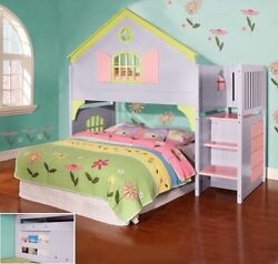Girls Twin Doll House Loft Bed With Stairs, Drawers And Magazine Rack