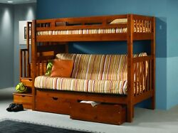 Bunk Bed With Futon Stairs And Storage