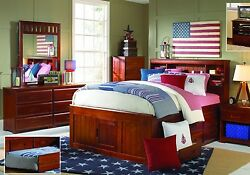 Full Size Captains Bed With Bookcase Headboard And Six Storage Drawers