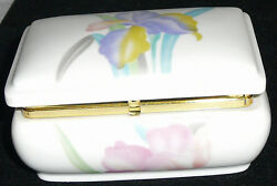 Japanese Porcelain Vintage Orchid Musical Trinket / Jewelry Box