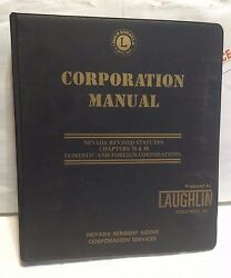 Corporation Manual. Nevada Revised Statutes Chapters 78 And 80. Used Binder. Rare