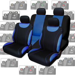 For Vw New Blue Flat Cloth Car Seat Covers With Designer Headrest Covers