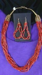 22 Red Coral And Gold Necklace And 3 Earrings Set Santo Domingo Collectible Usa