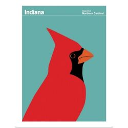 State Posters - Indiana State Bird Poster Art Print Cardinal Home Decor