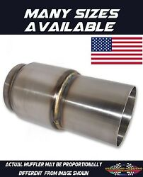 304 Stainless American Made Extended Exit Race Muffler 2 1/2od X 2 Body Length