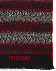 Missoni Scarf Unisex Zig Zag Dual Tone Made In Italy 100 Wool Red/black Nwt