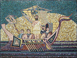 Abstract Phoenician Culture Old Boat Men Deep Ocean Marble Mosaic Fg364