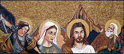 Religion The Holy Virgin Mary With Her Son Jesus Christ Marble Mosaic Fg373