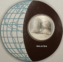 Coins Of All Nations 1977 50 Sen Malaysia Coin And Stamp Set