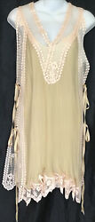 Chloe Dress Vanilla And Pinky Nude Embroidered Ties On Side Size 34 NWT $3750