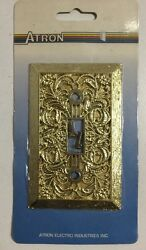 New Vintage Atron Decorative Gold Single Light Switch Cover Plate Ornate Floral
