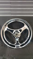 For Harley Turbo 18 X 5.5 Chrome Billet Cnc Wheel Made In Usa 2000+ Softail