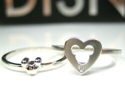 Auth Disney Mickey Puzzle Heart Sterling Silver Platinum Clad Ring