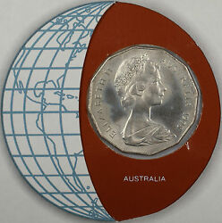 Coins Of All Nations 1978 50 Cents Australia Coin And Stamp Set