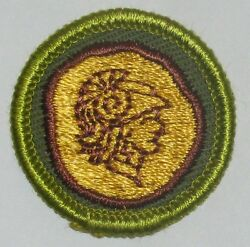 Boy Scout Coin Collecting Merit Badge Type F 1961-68 Khaki Rolled Edge