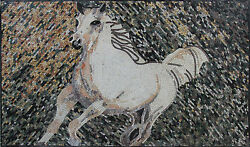 Running Wild White Beautiful Horse Tile Stones Marble Mosaic An394