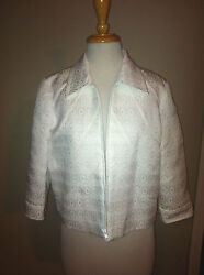 Nwt Anthracite White Tone On Tone Fully Lined Zippered Jacket Size 10 Easter