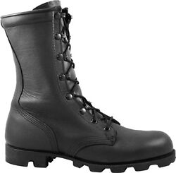 Mcrae Black All-leather Combat Boot With Panama Sole 6189