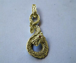 Solid 14k Gold Large 3d Sea Monster Serpent Dragon Pendant With Vs1 Red Diamonds