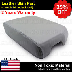 Fits 2008-2015 Toyota Sequoia Leather Center Console Lid Armrest Cover Gray
