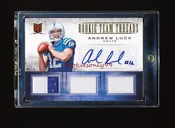 1/1 Andrew Luck 2012 Panini Momentum Rookie Team Threads Gold Patch Auto 10/10