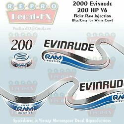 2000 Evinrude 200 Ficht Ram Injection Outboard Repro 3 Pc Marine Vinyl Decals