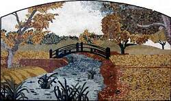 72 Handmade River Side Forest Landscape Mosaic Wall Mural Decor Indoor Outdoor