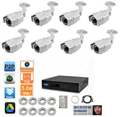 8 X 5mp 2.8-12mm Motorized Ip Camera 8ch 5mp Face Detection Nvr 4tb Hd Ip System