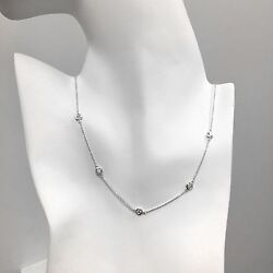 1 Ct Diamond By The Yard 5 Station Choker Necklace 14k Gold 14-20andrdquo Natural