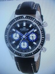 Fortis Menand039s Marinemaster Black Automatic Chronograph Leather Watch