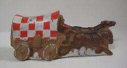 Vintage 1975 Covered Wagon And Horses Squeeze Squeaker Toy Ralston Purina Rare