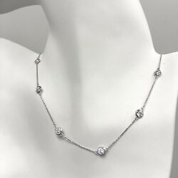 2.50 Ct Diamond By The Yard Station Necklace 14k Solid Gold 16 18 20 F/ Natural