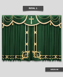 Saaria Church School Event Hall Club Stage Home Theater Curtain 12'Wx8'H Royal-1