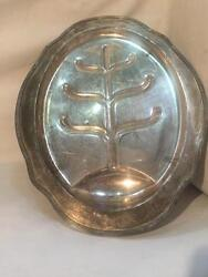 Antique Vintage Pairpoint 20 Silver Plate Footed Meat Tray/platter W/ Juice Wel