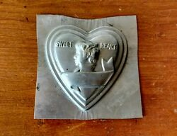 Antique 1920's Sweet Heart Shape Tin Cake Pan Mold Valentines Day Amelia Earhart